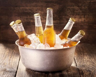 Quadro cold bottles of beer in bucket with ice