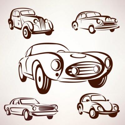 Quadro Coleção de vetores carros retro deign elementos fro etiquetas e emblemas