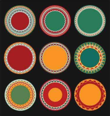 Quadro Coleção, mexicano, redondo, decorativo, borda, quadros, pretas, enchido, fundo