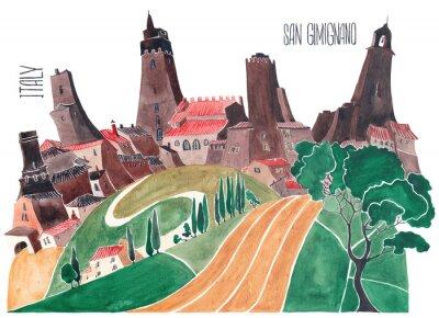 Quadro Colinas da Toscana. Natureza estilizada e arquitetura da Itália. Uma ilustração de uma aquarela.