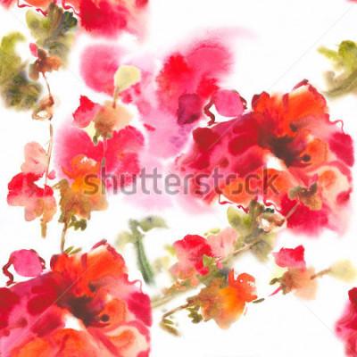 Quadro Color illustration of flowers in watercolor paintingsAlbum