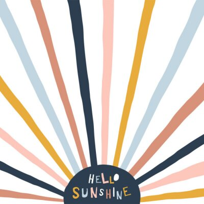 Quadro Colorful childish illustration with sun and text. Hello sunshine paper cut style lettering. Typographic print for kids nursery design.
