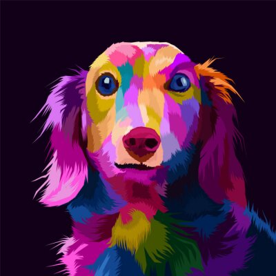 Quadro colorful dog pop art portrait vector