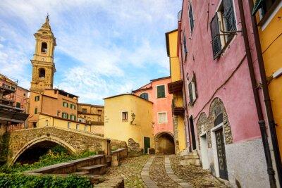 Quadro Colorido, casas, antigas, cidade, Dolcedo, Liguria, Itália