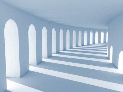 Quadro Colunata azul com sombras profundas. Ilustração