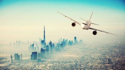Quadro Comercial, avião, voando, modernos, cidade