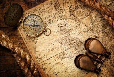 Quadro Compasso velho, binóculos e corda no mapa do vintage
