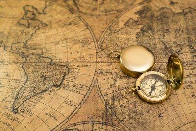 Quadro Compasso velho no mapa do vintage