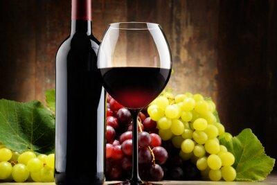 Quadro Composição com vidro, garrafa de vinho tinto e uvas frescas
