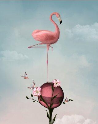 Quadro Composição surreal com flamingo e flores