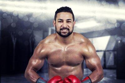Quadro Composto imagem de homem musculoso boxe em luvas