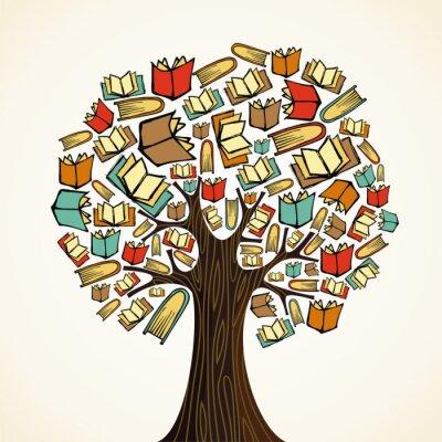 Quadro Conceito da instrução árvore com livros