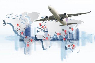Quadro Conceito de transporte, importação-exportação e logística, caminhão-contêiner, navio em porto e avião de carga em transporte e importação-exportação logística comercial, indústria de transporte maríti