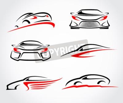 Quadro Conjunto abstrato de carros. Vetor