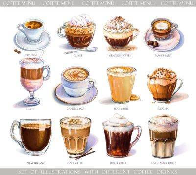 Quadro Conjunto com diferentes bebidas de café para menu de café ou café. Ilustração de café expresso forte, café com leite suave, macchiato doce e cappuccino, café vienense e glace com sorvete.