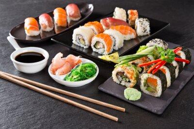 Quadro Conjunto de frutos do mar sushi japonês