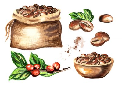 Quadro Conjunto de grãos de café. Aquarela mão ilustrações desenhadas, isoladas no fundo branco