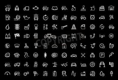 Quadro conjunto de ícones automáticos pretos de vetores
