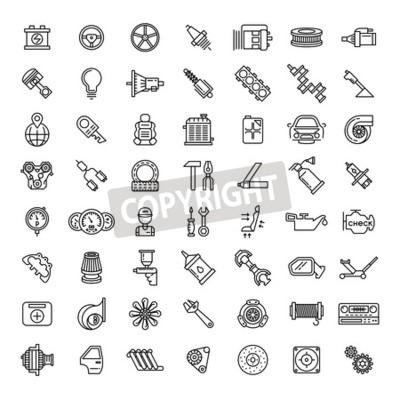 Quadro Conjunto de ícones de linha de peças de carro definido. Símbolo de reparação de serviço automático, motor de engrenagem, chave inglesa e filtro, ilustração vetorial