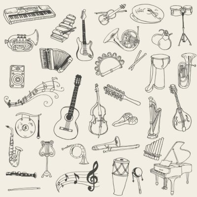 Quadro Conjunto de instrumentos de música - a mão tirada em vetor