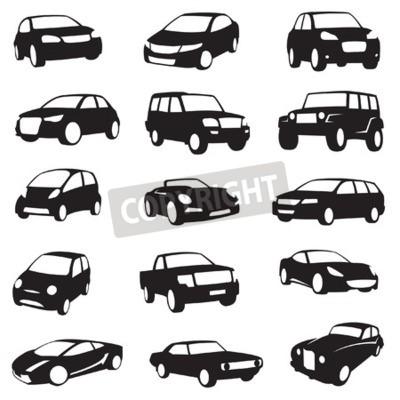 Quadro Conjunto de quinze silhuetas de carros pretos
