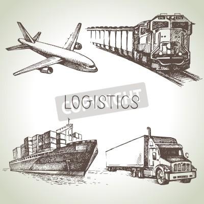 Quadro Conjuntos de logística desenhada por mão e conjunto de ícones de esboço de entrega. Ilustração do vetor