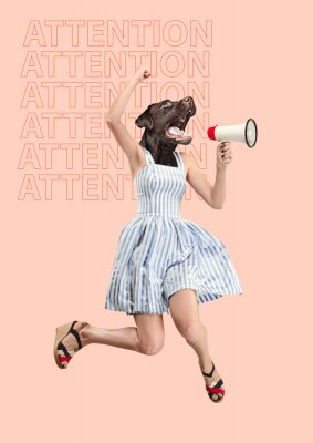 Quadro Contemporary art collage or portrait of surprised dog headed woman. Modern style pop zine culture concept. Woman screaming with a megaphone. Business processes, message, speaker, communication