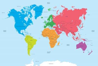 Quadro Continentes do mundo e mapa político