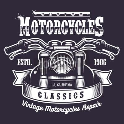 Quadro Cópia da motocicleta do vintage. Monocromático, escuro, fundo