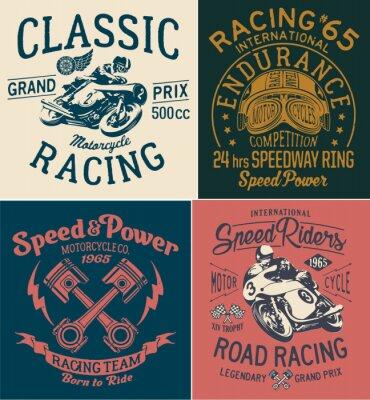 Quadro Cópias da competência da motocicleta do vintage para camisetas