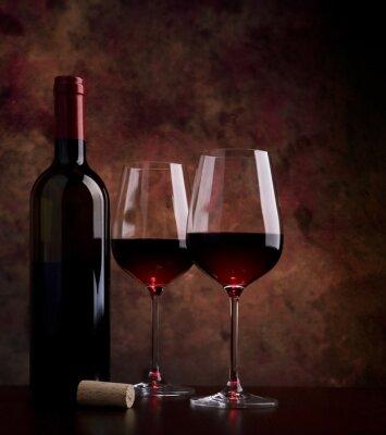 Quadro copos de vinho sobre a mesa