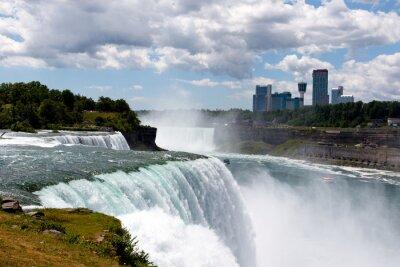 Quadro Cor DSLR estoque imagem grande angular de Niagara Falls, mostrando American Falls e lado canadense; Horizontal com espaço da cópia para o texto