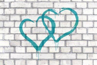 Quadro Corações Graffiti rendidos em um fundo da parede