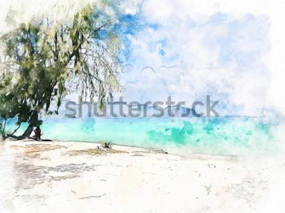 Quadro Cordilheira e água do mar bonitas coloridas abstratas em Krabi, Tailândia no fundo da pintura da ilustração da aquarela.