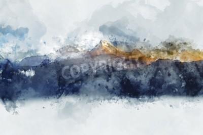 Quadro Cordilheiras abstratas na luz da manhã, pintura digital aquarela