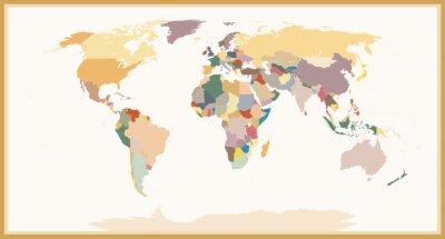 Quadro Cores cegas altamente detalhadas do mapa do mundo cartao de visita