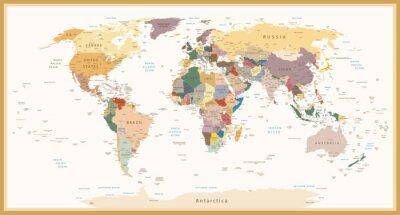 Quadro Cores do vintage do mapa mundial altamente detalhado