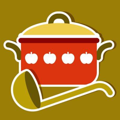 Quadro Cozinhando o potenciômetro e uma concha. Vector símbolos de cozinha