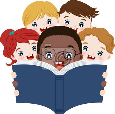 crianças lendo livros pinturas para a parede quadros multicultural