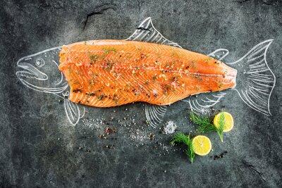 Quadro Cru, salmão, peixe, bife, ingredientes, como, limão, pimenta, mar, sal, dill, pretas, tábua, biscoito,