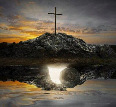 Quadro Cruz e túmulo vazio