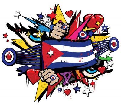 Quadro Cuba bandeira Havana graffiti bandeira graff emblema rua arte flâmula jaque ensign colorido cubano revolução graff vetoriais spray