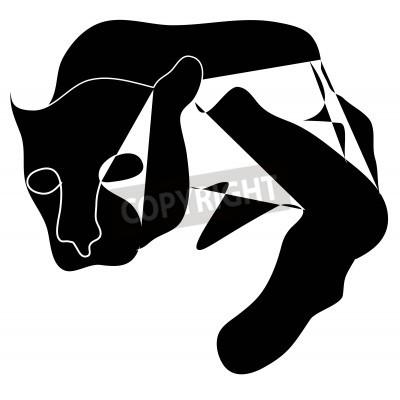 Quadro Cubismo Art silhueta preta de pantera negra