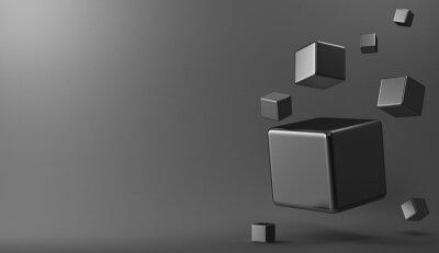 Quadro Cubos 3d de metal de fundo