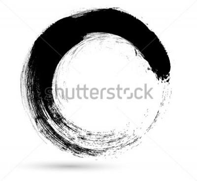 Quadro Curso da escova do círculo. Molde do projeto do logotipo do vetor. Twirl formas de grunge.