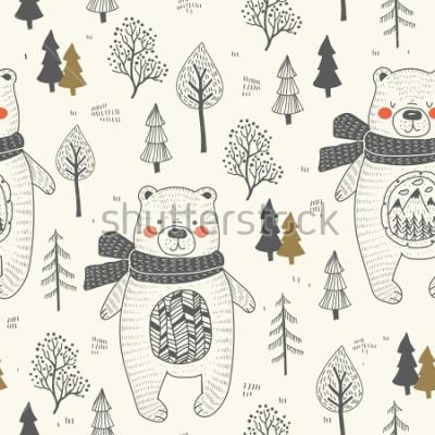 Quadro cute bear hand drawn forest seamless pattern. Doodle cartoon anymal.