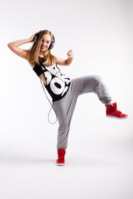 Quadro Dançarino de Hip-hop com fones de ouvido