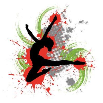 Quadro Dançarino na frente do fundo colorido com salpicos de cor