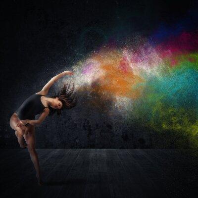 Quadro Dance com pigmentos coloridos