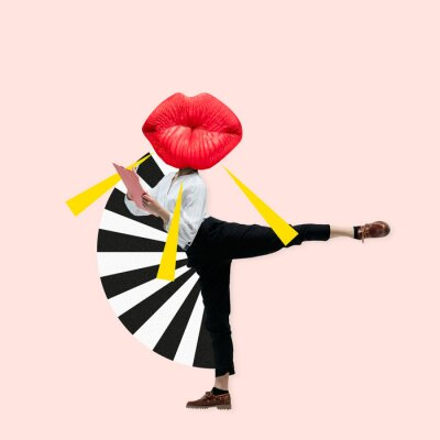 Quadro Dancing office woman in classic suit like a ballet dancer headed by the big red female lips against trendy coral background. Negative space to insert your text. Modern design. Contemporary art collage